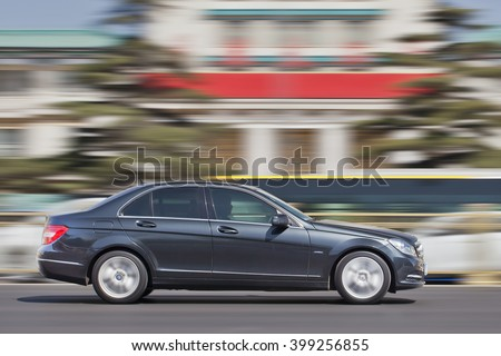BEIJING-MARCH 30, 2016. Mercedes-Benz C-Class. Luxury-car makers can count on China's growing wealth. Number of Chinese with over $1 million in financial assets double North America's rate this year. - stock photo
