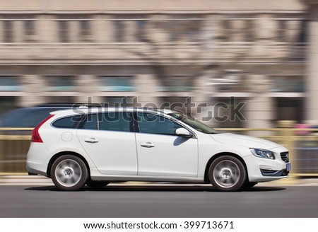 BEIJING-MARCH 30, 2016. White Volvo V60 station car. The Swedish manufacturer, bought by Zhejiang Geely in 2010, is beginning to reap benefits of five-year, $11 billion plan to develop new models.