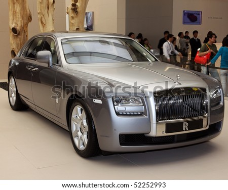 BEIJING - MAY 2: A Rolls-Royce Ghost is on display at the 2010 Beijing International Automotive Exhibition (Auto China 2010) on May 2, 2010 in Beijing, China. - stock photo