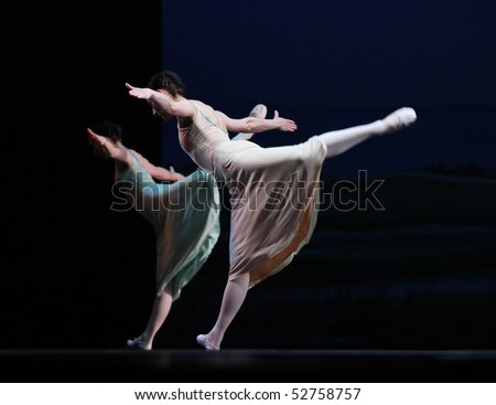 BEIJING-MAY 8: Dancers of the Czech National Theater ballet troupe perform on stage at Mei Lanfang Theatre on May 8, 2010 in Beijing, China. This event is part of the Czech Culture Festival in China. - stock photo