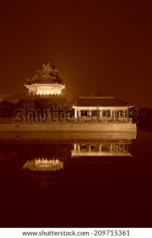 BEIJING - MAY 23: imperial palace watchtower at night, on may 23, 2014, Beijing, China