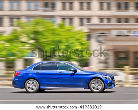 BEIJING-MAY 4, 2016. Mercedes C Class. Luxury-car makers can count on China's growing wealth. The number of Chinese with over $1 million in financial assets double the North America rate this year. - stock photo