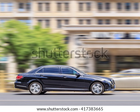 BEIJING-MAY 4, 2016. Mercedes E series. Luxury-car makers can count on China's growing wealth. The number of Chinese with over $1 million in financial assets double the North America rate this year. - stock photo