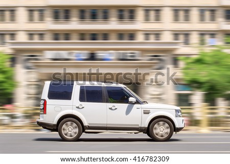 BEIJING-MAY 4, 2016. Range Rover Discovery. Jaguar Land Rover sold 427,000 Land Rovers and 94,000 Jaguars in 12 months to the end of March, total output of 522,000 a record for the British car maker. - stock photo