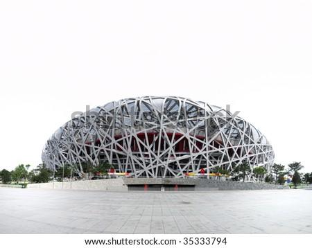Beijing National Olympic Stadium isolated on white - stock photo