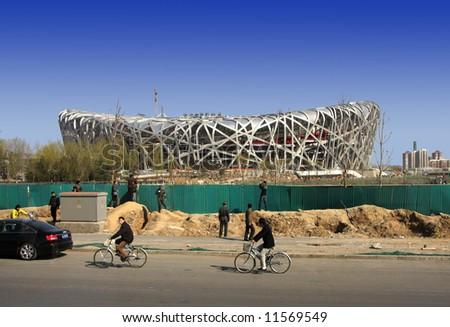 Beijing National Stadium ''Bird's Nest'' - site of 2008 Summer Olympic opening and closing ceremonies - stock photo