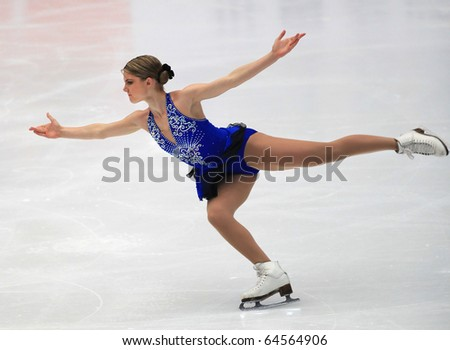 BEIJING - NOV 6 : Amanda Dobbs of USA performs in the Ladies-Free Skating event of the SAMSUNG Cup of China ISU Grand Prix of Figure Skating 2010 on Nov 6, 2010 in Beijing, China. - stock photo