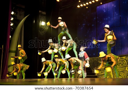 BEIJING - NOVEMBER 17: Artists of the Beijing Acrobatics Troupe perform at the famous Chaoyang Theatre on November 17, 2010, in Beijing, China. - stock photo