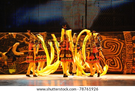 BEIJING - NOVEMBER 17: Beijing Acrobatics Troupe artists perform at the famous Chaoyang Theatre on November 17, 2010, in Beijing, China. - stock photo