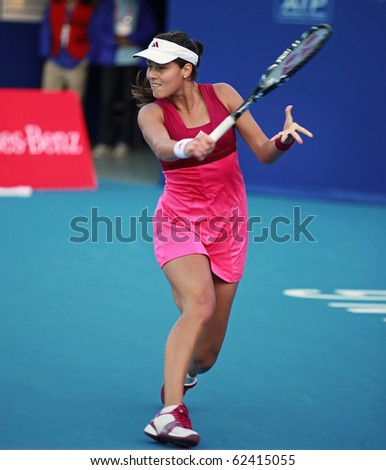 BEIJING-OCT 5: Ana Ivanovic of Serbia  during her match against Olga Govortsova of Belarus at the 2010 China Open on October 5, 2010 in Beijing, China. - stock photo