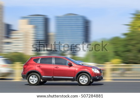 BEIJING-OCT. 28, 2016. Nissan Qashqai downtown. Nissan reported strongest monthly sales growth for China in September, thanks to tax cut on small engine vehicles and weak growth same month last year