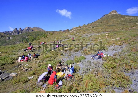 BEIJING - OCTOBER 5: Outdoor travelers have dinner on the hillside, on october 5, 2014, Beijing, China