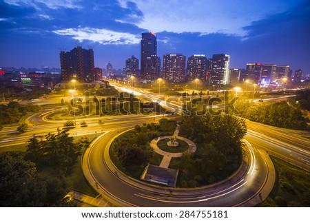Beijing of China (City night scene) - stock photo