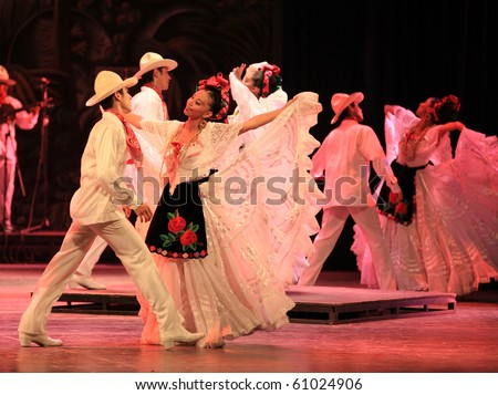 BEIJING-SEP 14: Artists from Amalia Hernandez's Folkloric Ballet of Mexico perform on stage at the Beijing Exhibition Theater on Sep 14, 2010 in Beijing, China - stock photo