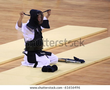 BEIJING-SEP 03: Jung Kuk Kim of Republic of Korea prepares to compete during  the Kendo event of the SportAccord Combat Games 2010 Beijing on Sep 03, 2010 in Beijing, China - stock photo