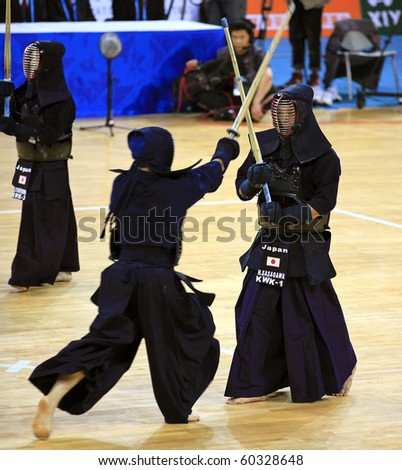 BEIJING-SEP 03: Kendo Practitioners perform during the Kendo event of the SportAccord Combat Games 2010 Beijing on Sep 03,2010 in Beijing, China - stock photo