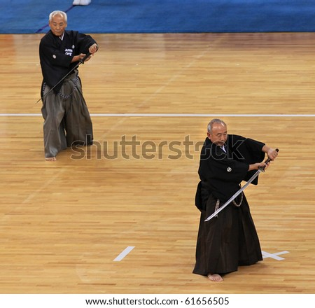 BEIJING-SEP 03: Kendo Practitioners perform during the Kendo event of the SportAccord Combat Games 2010 Beijing on Sep 03, 2010 in Beijing, China - stock photo