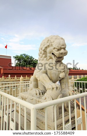 BEIJING - SEP 13: Lion stone in front of the Tiananmen Gate Tower on September 13, 2012, in Beijing, china