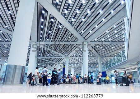 BEIJING-??SEPT. 5, 2012. Baggage claim Beijing Capital Airport Terminal 3 on Sept. 5, 2012. The airport registered 488,495 aircraft movements (take-offs + landings) and as ranked 10th in the world. - stock photo