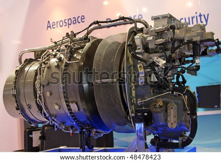 "BEIJING - SEPTEMBER 26: Engine for helicopters ""Ardiden"" is on display during 13th Beijing International Aviation & Aerospace Exhibition at CIEC on September 26, 2009, in Beijing, China"