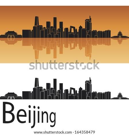 Beijing skyline in orange background - stock photo