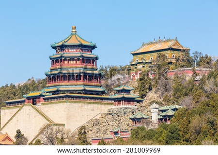 Beijing Summer Palace landscape, the ancient imperial gardens in China - stock photo