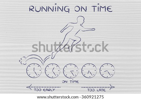 being on time: person running on clocks while on a hurry