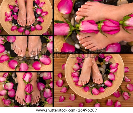 Being pampered in a spa with aromatic roses and herbal foot bath - stock photo