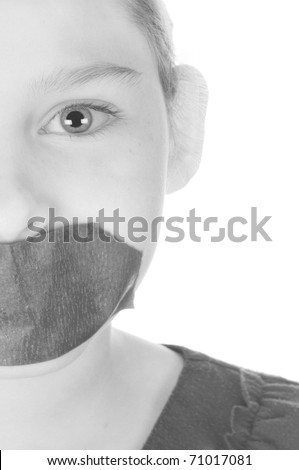 being silenced with tape over mouth - stock photo