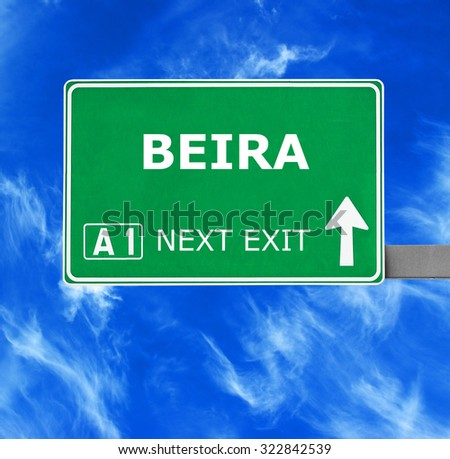 BEIRA road sign against clear blue sky