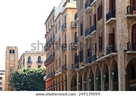 Beirut's classical architecture on a white background - stock photo