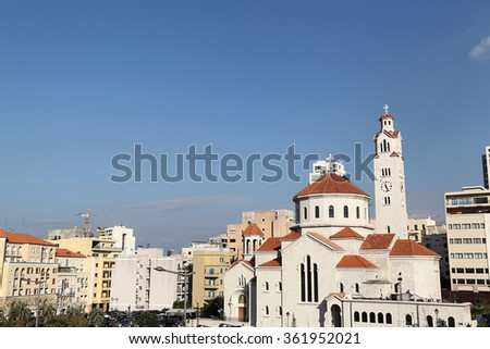 Beirut Skyline with Armenian Church in Downtown Beirut  - stock photo