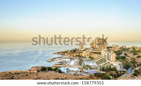 Beirut, the largest city and the capital of Lebanon, It'sLebanon's seat of government and plays a main role in the Lebanese economy - stock photo