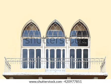 Beirut typical triple arch window architecture from the last century, seen here on a light background