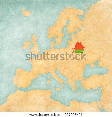 Belarus (belarusian flag) on the map of Europe. The Map is in vintage summer style and sunny mood. The map has a soft grunge and vintage atmosphere, which acts as watercolor painting on old paper.  - stock photo