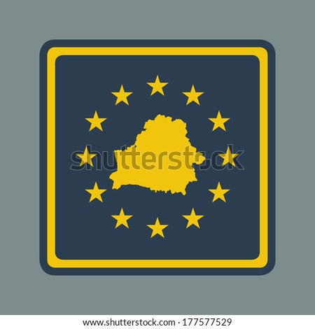 Belarus European flag button in flat responsive web design style isolated with clipping path. - stock photo