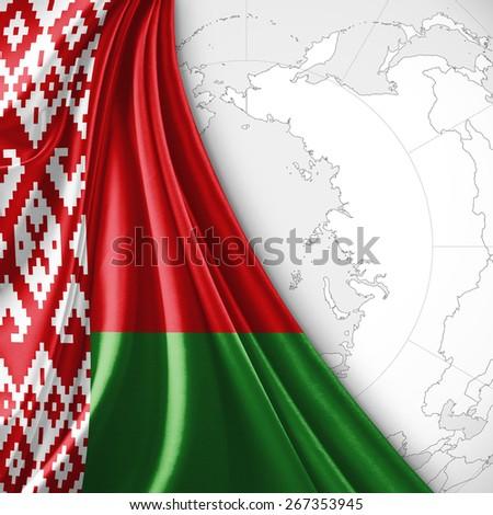 Belarus flag and world map background - stock photo