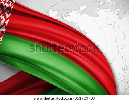 Belarus   flag of silk with copyspace for your text or images and world background