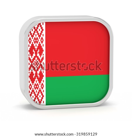Belarus flag sign on a white background. Part of a series. - stock photo