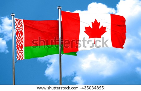 Belarus flag with Canada flag, 3D rendering