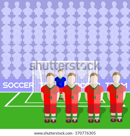 Belarus Football Club Soccer Players Silhouettes. Computer game Soccer team players big set. Sports infographic. Football Teams in Flat Style. Goalkeeper Standing in a Goal. - stock photo