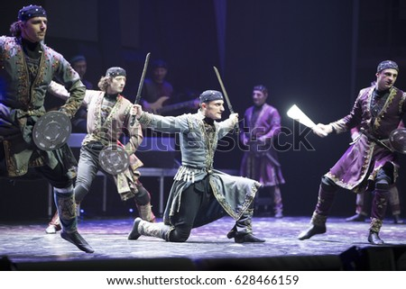 "Belarus, the city of Gomel, 23.03.2017. Concert of Georgian National Ballet ""Sukhishvili"".Georgian dance with swords"