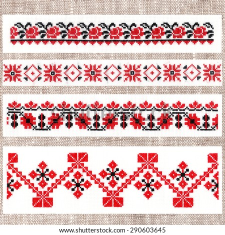 Belarusian folk embroidery, three colors - white, red and black - stock photo