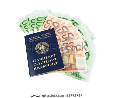 Belarusian passport with fifty and one hundred euro banknotes isolated on white background