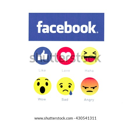 Belchatow, Poland - May 23, 2016: Facebook logo and button 6 emoji icon printed on white paper.