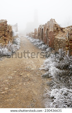 Belchite village destroyed in a bombing during the Spanish Civil War, Saragossa, Aragon, Spain - stock photo