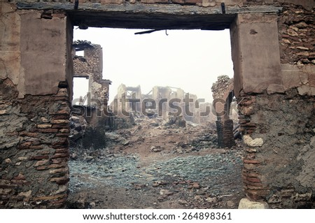 Belchite village destroyed in a bombing during the Spanish Civil War, Saragossa, Aragon, Spain. - stock photo
