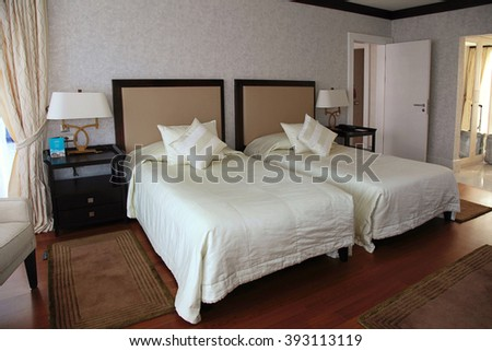 BELEK, TURKEY - JULY 12, 2015: Modern hotel interior bedroom in Belek, Turkey. - stock photo
