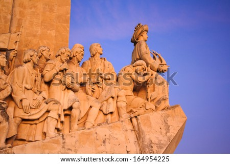Belem, Portugal - Discoveries Monument at sunset  - stock photo