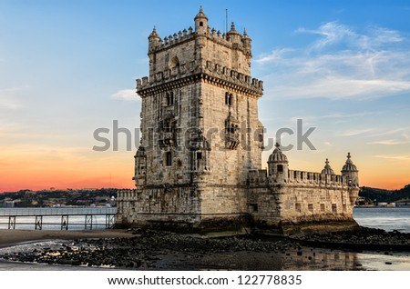 Belem tower at sunset - Lisbon, Portugal